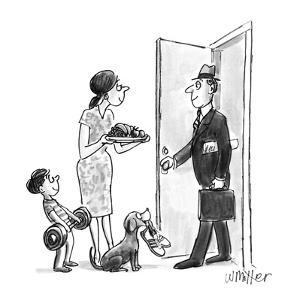 Man returning home from work is greeted by wife bearing food, son holding ? - New Yorker Cartoon by Warren Miller
