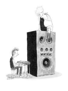 Punk playing a keyboard connected to a huge speaker on-top of which a punk? - New Yorker Cartoon by Warren Miller