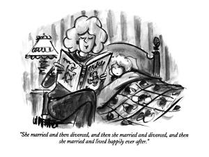 """""""She married and then divorced, and then she married and divorced, and the?"""" - New Yorker Cartoon by Warren Miller"""