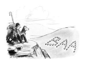 Shepherd looks down in valley to see sheep formed into the shape of the le? - New Yorker Cartoon by Warren Miller