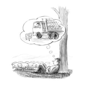 Sheppard dreaming of being in a large truck with his sheep on the fast lan? - New Yorker Cartoon by Warren Miller