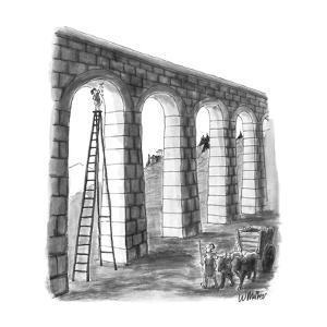 Small boy plugging up hole in aqueduct. - New Yorker Cartoon by Warren Miller