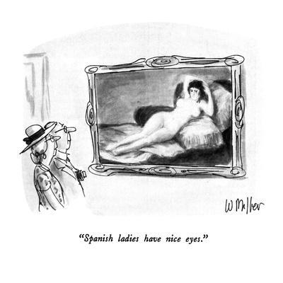 """Spanish ladies have nice eyes."" - New Yorker Cartoon"