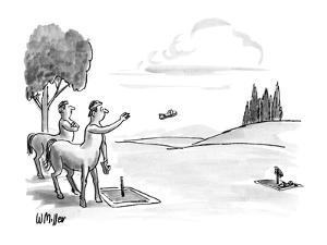 Two centaurs playing a game of 'horse-shoes' but using people's sandals. - New Yorker Cartoon by Warren Miller