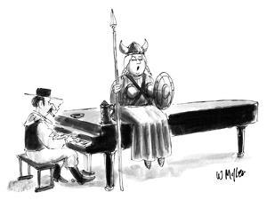 Women in operatic Viking costume sits atop piano singing; piano player is … - New Yorker Cartoon by Warren Miller