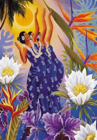 The Blossoms are Opening, Hawaiian Hula Dancers by Warren Rapozo
