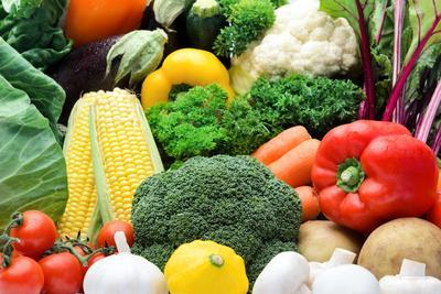 Close up of Fresh Raw Organic Vegetable Produce, Assortment of Corn, Peppers, Broccoli, Mushrooms,