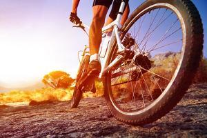 Low Angle View Of Cyclist Riding Mountain Bike On Rocky Trail At Sunrise by warrengoldswain