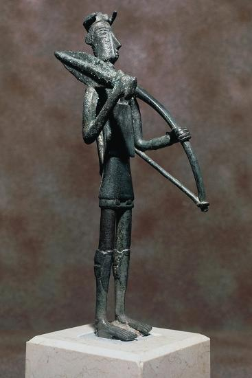 Warrior with Sword and Bow, Bronze Statue, from Monte Arcosu, Uta, Sardinia, Italy--Giclee Print