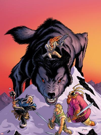 Warriors Three No.4 Cover: Volstaag, Hogun and Fandral Fighting a Wolf in the Snow-Amanda Conner-Plastic Sign