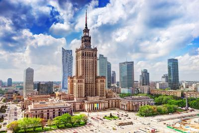 Warsaw, Poland. Aerial View Palace of Culture and Science and Downtown Business Skyscrapers, City C-Michal Bednarek-Photographic Print