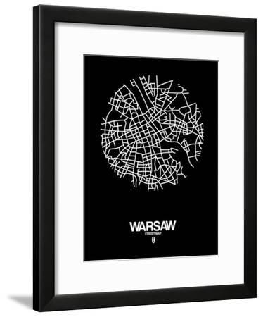 Warsaw Street Map Black-NaxArt-Framed Art Print