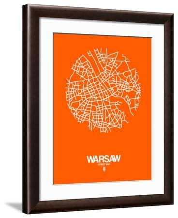 Warsaw Street Map Orange-NaxArt-Framed Art Print