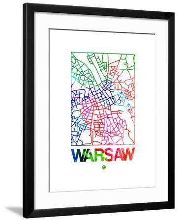 Warsaw Watercolor Street Map-NaxArt-Framed Art Print