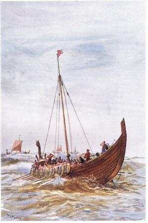 Warship at the Time of King Alfred, 1915-William Lionel Wyllie-Giclee Print