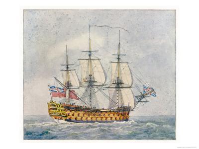 Warship of the British Navy- Pollard-Giclee Print