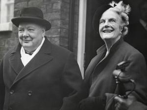 Wartime Premier, Winston Churchill, with His Wife Clementine on His 75Rd Birthday