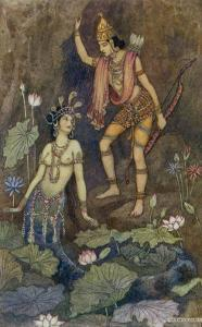 Arjuna and Nymph by Warwick Goble