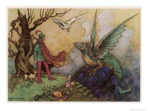 Avenant Confronts a Fearsome Dragon by Warwick Goble
