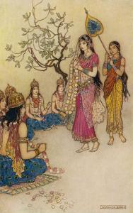 Damayanti Daughter of Bhima King of Vidarbha Chooses Prince Nala as Her Husband by Warwick Goble