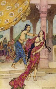 Draupadi the Polyandrous Wife of the Katava Brothers is Attacked by Prince Duhsasana by Warwick Goble