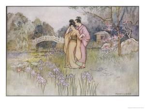 Japanese Couple in a Garden by Warwick Goble