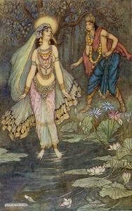 King Shantanu Meets Ganga the Goddess and She Becomes His First Queen by Warwick Goble