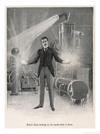 """Nikola Croatian Inventor Holding Balls of """"Flame"""" in His Bare Hands"""