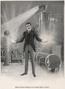 "Nikola Croatian Inventor Holding Balls of ""Flame"" in His Bare Hands by Warwick Goble"