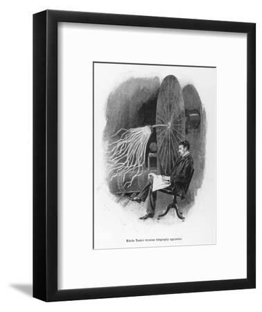 Nikola Tesla Serbian Inventor Seated Beside His Wireless Telegraphy Apparatus