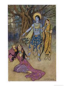 Rama the Seventh Avatar of Vishnu is Tempted by Shurpanakha a Rakshasa by Warwick Goble