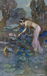 Sita Finds Rama (Seventh Avatar of Vishnu) Among the Lotus Blooms by Warwick Goble