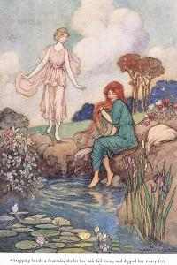 Stopping Beside a Fountain by Warwick Goble