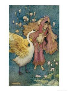 Swan Grateful for Being Spared by Prince Nala Tells Damayanti How Handsome He Is by Warwick Goble