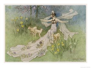 The Fairy Coquette, with Three Wolves Which She Has Just Transformed into Lambs by Warwick Goble