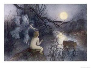 Tom Sits Upon a Rock Watching the Moonlight on the Rippling River by Warwick Goble