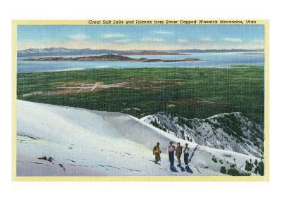 Wasatch Mountains, Utah, Aerial View of Great Salt Lake and Islands from Mt-Lantern Press-Art Print