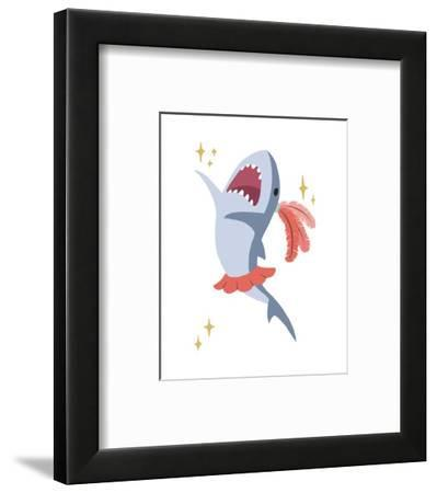 Wash Brush Floss Flush Shark Coral Part III-Color Me Happy-Framed Art Print