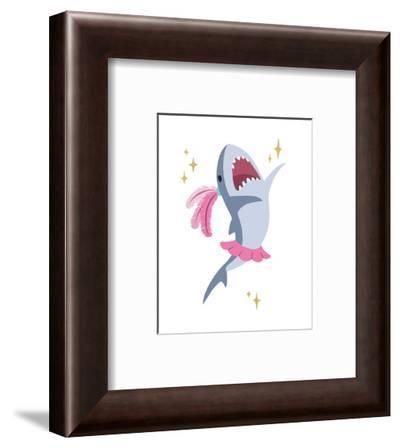 Wash Brush Floss Flush Shark Pink Part I-Color Me Happy-Framed Art Print