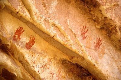 Wash Ruins, Painted Hand Prints at Double Stack Ruin, Cedar Mesa, Utah-Richard Wright-Photographic Print