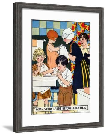 Wash Your Hand before Each Meal--Framed Art Print