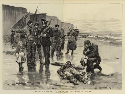 Washed Ashore, a Scene on the French Coast-Charles Stanley Reinhart-Giclee Print