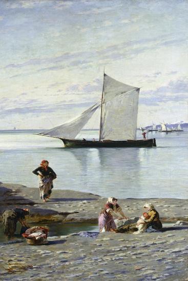 Washerwomen at the Mouth of the Bisagno, 1891-Antonio Varni-Giclee Print