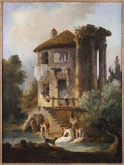 Washerwomen Outside the Temple of the Sibyl, Tivoli-Hubert Robert-Giclee Print