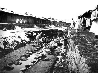 Washing Clothes Outdoors, Korea, 1900--Giclee Print