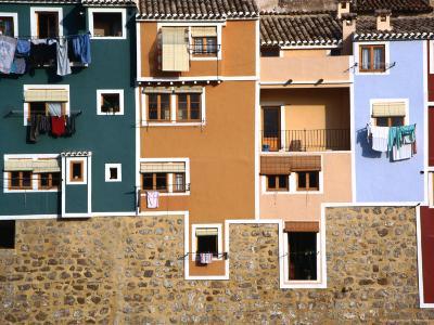 Washing Hanging from House Windows in La Vila Joiosa, Benidorm, Spain-Mark Daffey-Photographic Print