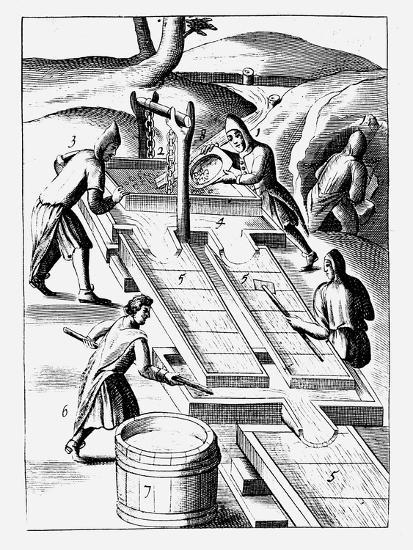 Washing Ore to Extract Gold, 1683--Giclee Print