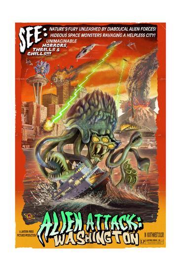 Washington - Alien Attack!-Lantern Press-Art Print