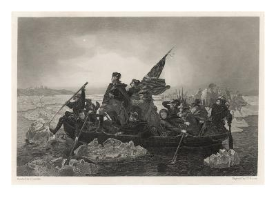Washington and His Army Cross the Delaware River, Prior to the Battle of Trenton--Giclee Print