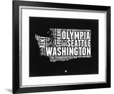 Washington Black and White Map-NaxArt-Framed Art Print